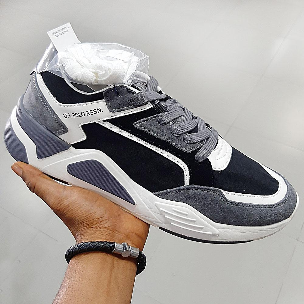 Gray Black Erving Mix Fabric Suede Leather Sneakers