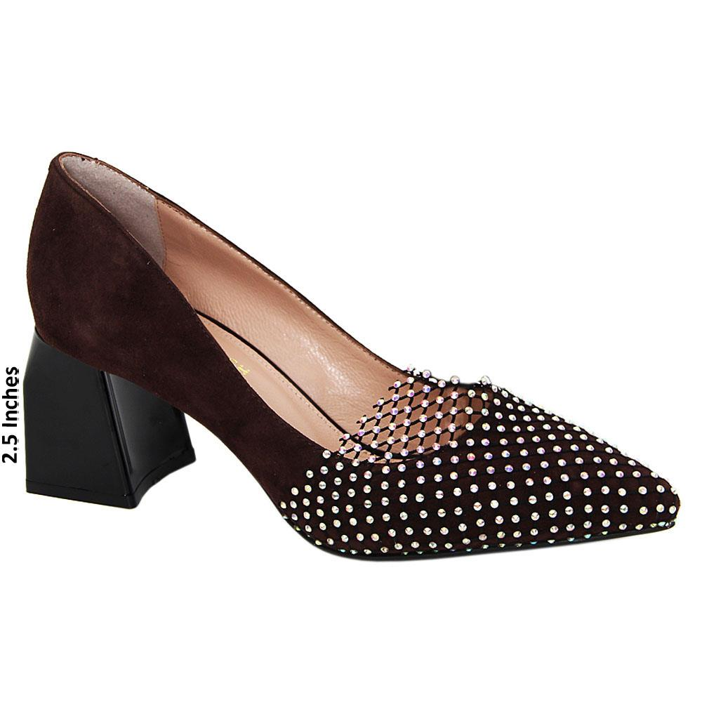 Coffee Avery Crystal Suede Tuscany Leather Mid Heel Pumps