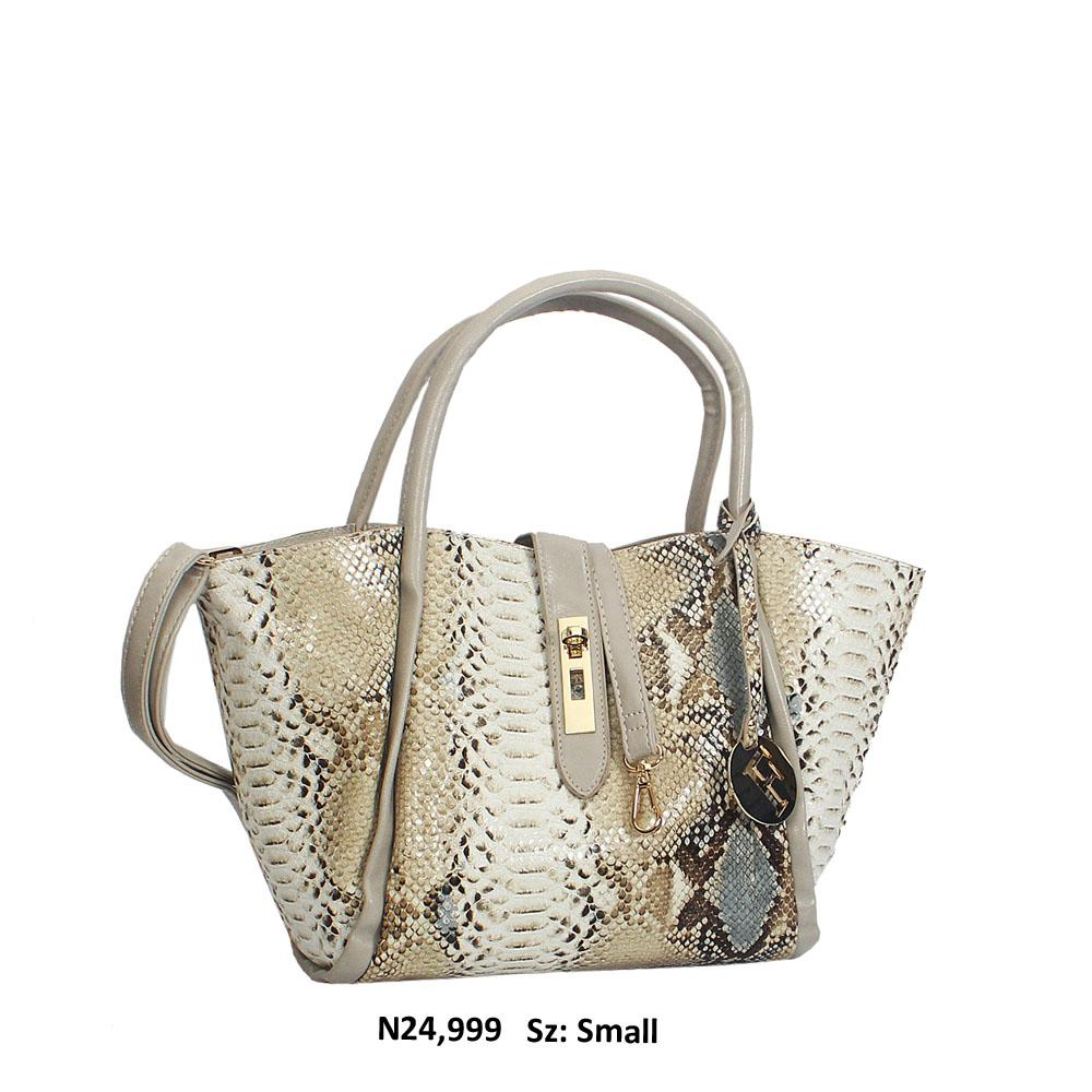 Cloud Gray Mix Snake Skin Style Leather Tote Handbag