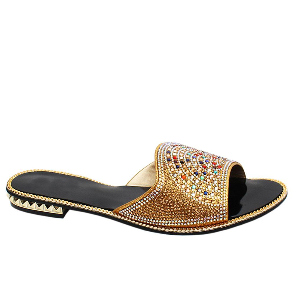 Gold Candice Studded Leather Ladies Flat Slippers