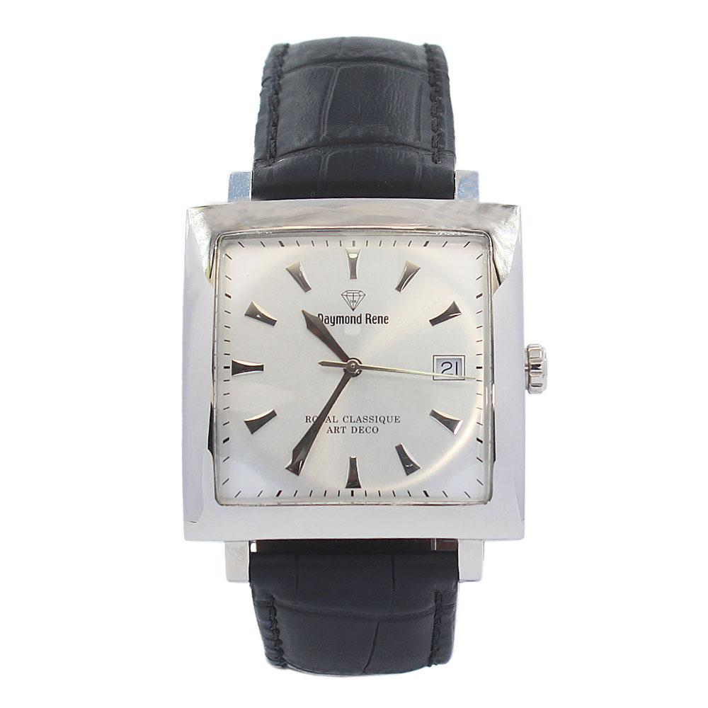DR Black Silver White FLeather Flat Watch