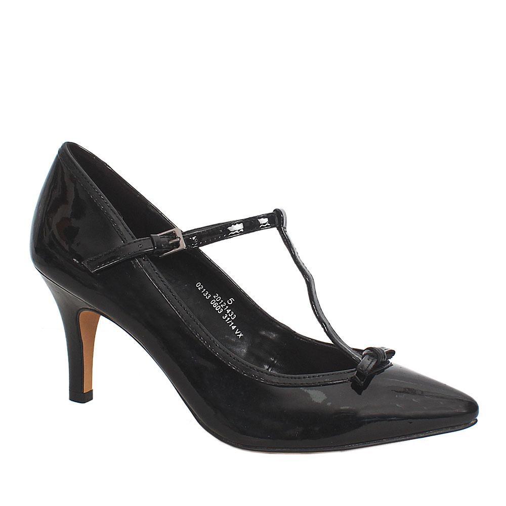 Black Patent Leather Wider Fit Ladies Heel