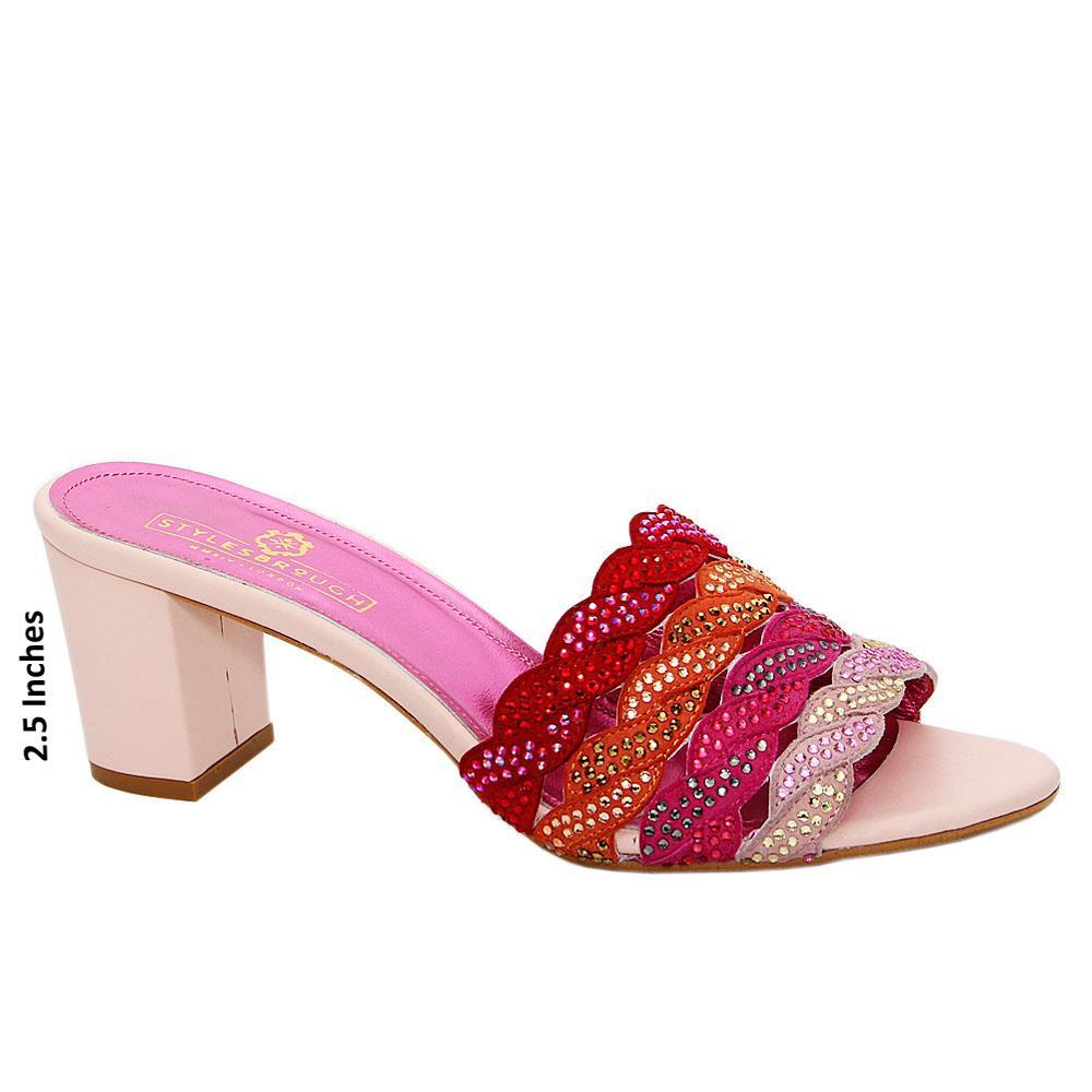 Pink Mix Camilla Studded Italian Leather High Heel Mule