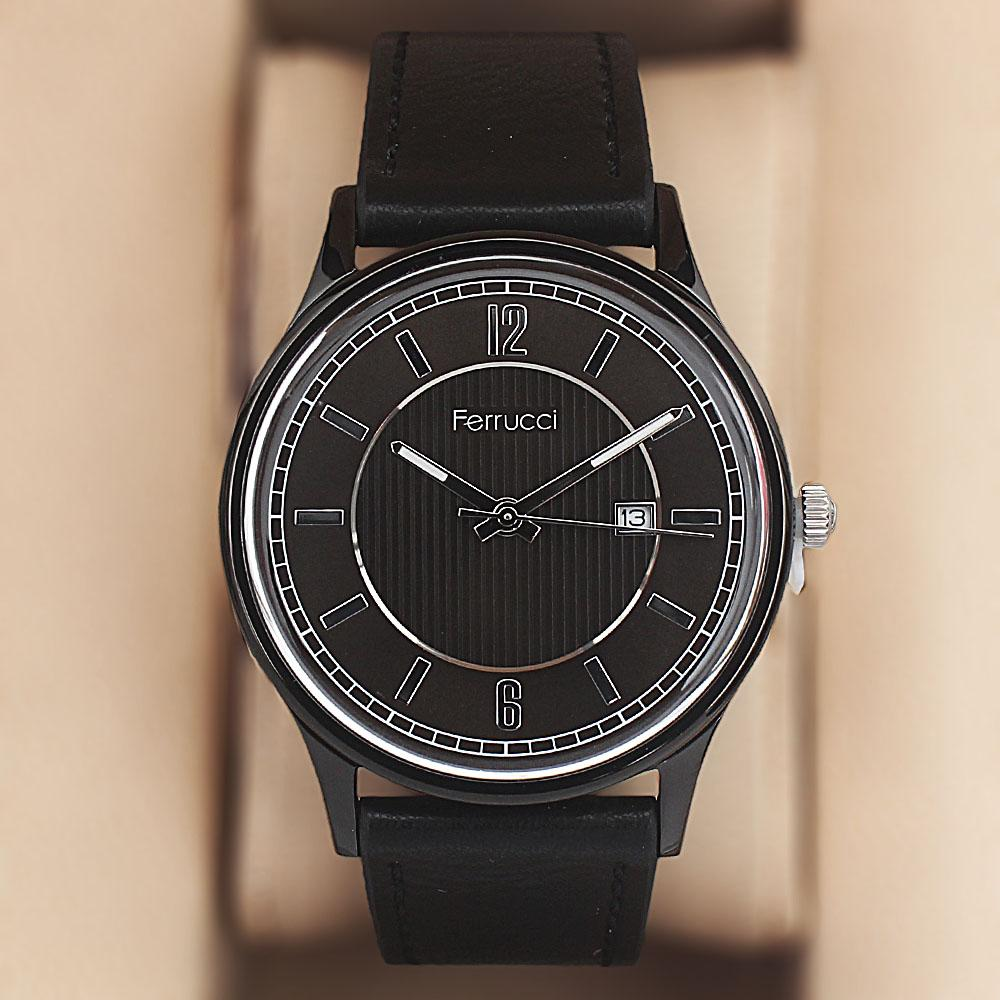 Ferrucci Black Leather Watch
