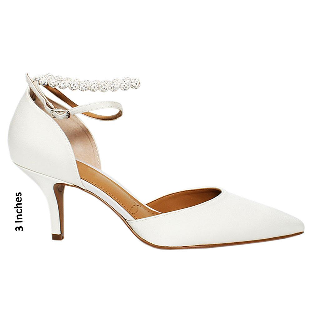 White Kimama Satin Leather Heel