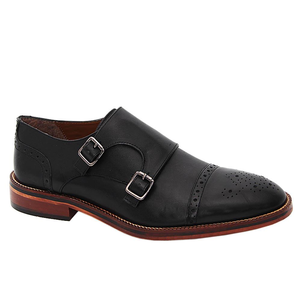 K Geiger Black Eddie Leather Monk Strap Shoe