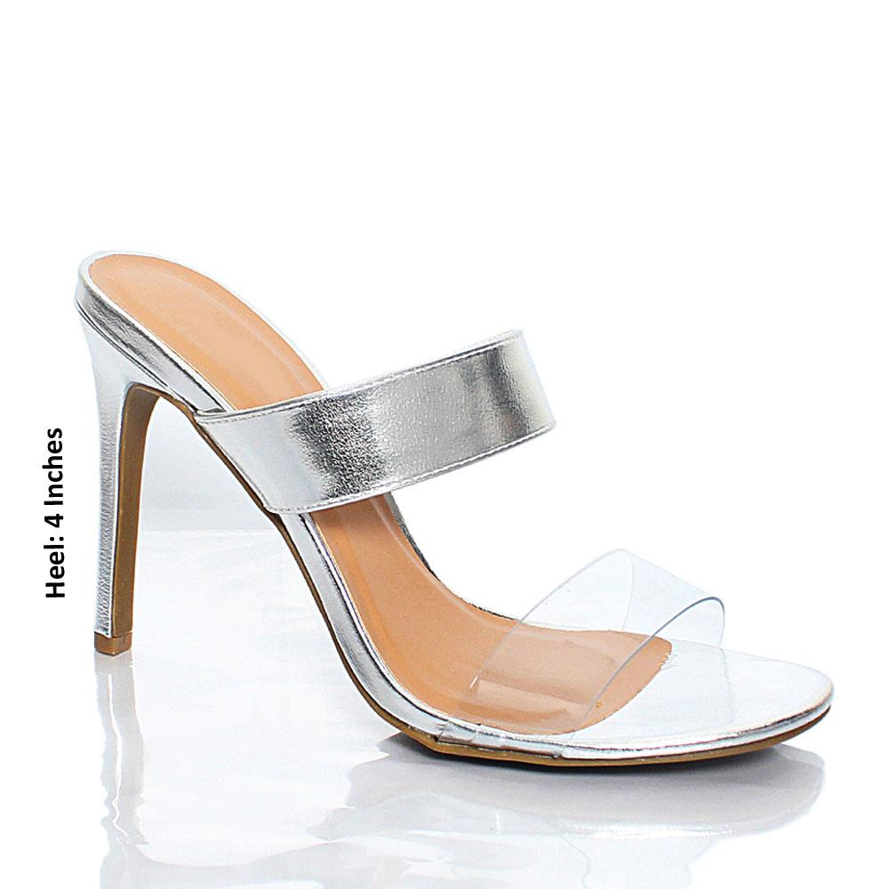 Silver Transparent AM Agnesca Leather High Heel Mule