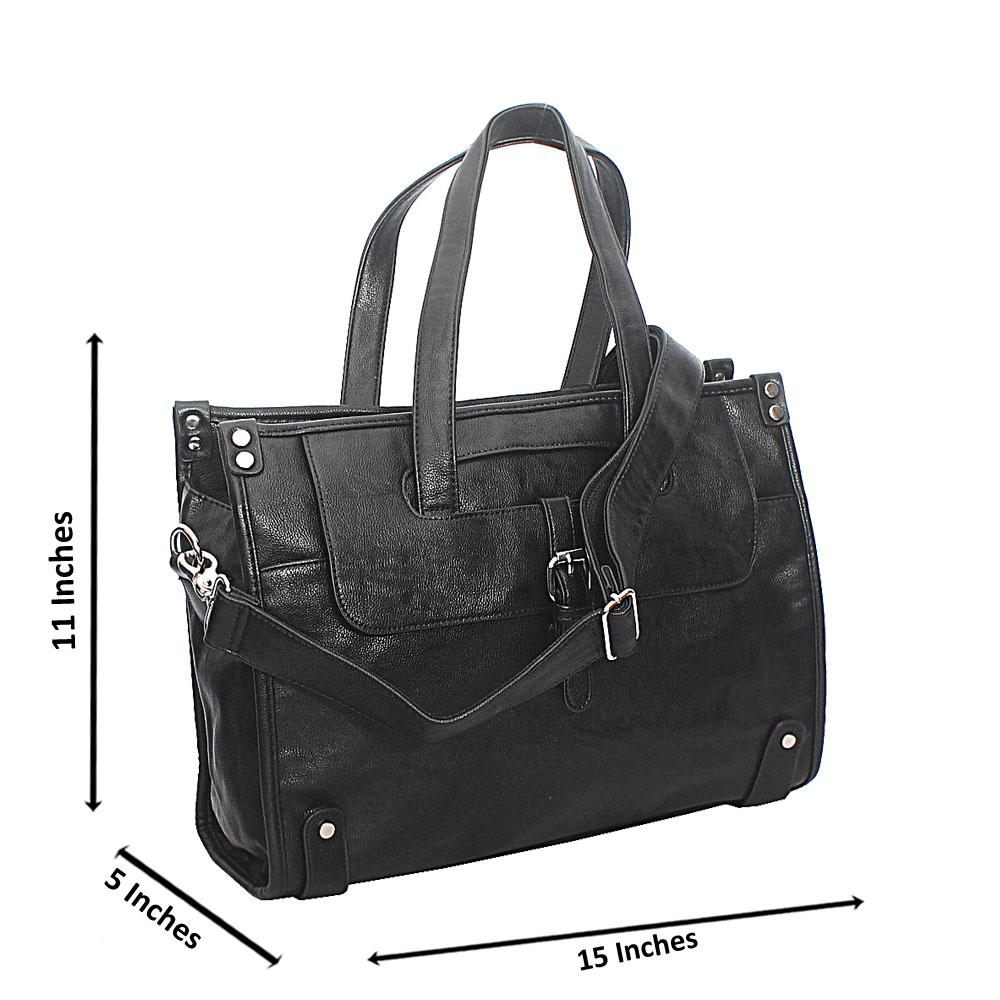 Amante Black Stud Buckle Cassania Leather Man Bag