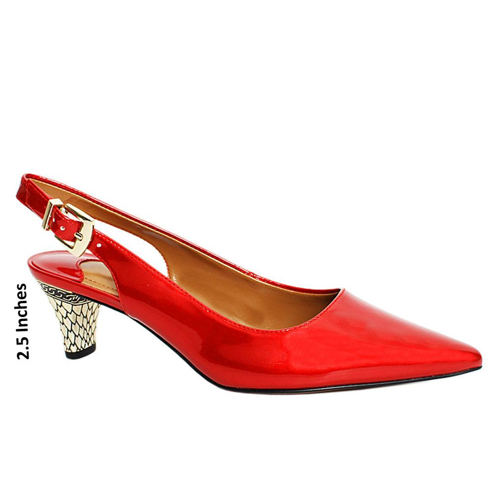 Red Dollar Patent Leather Slingback Heel