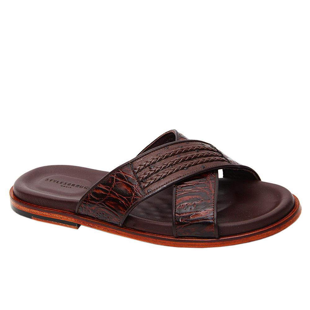 Brown Hernandez Crossover Italian Leather Slippers