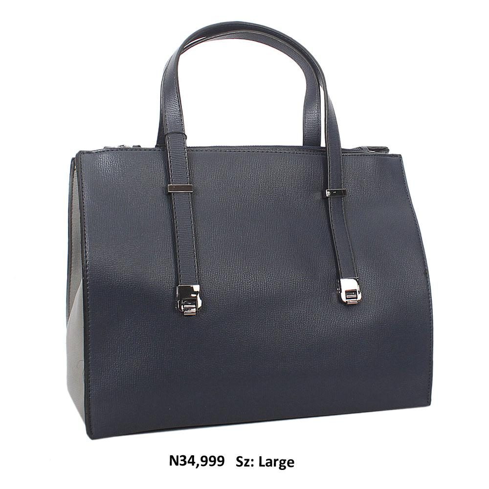Navy Grey Nina Leather Tote Handbag