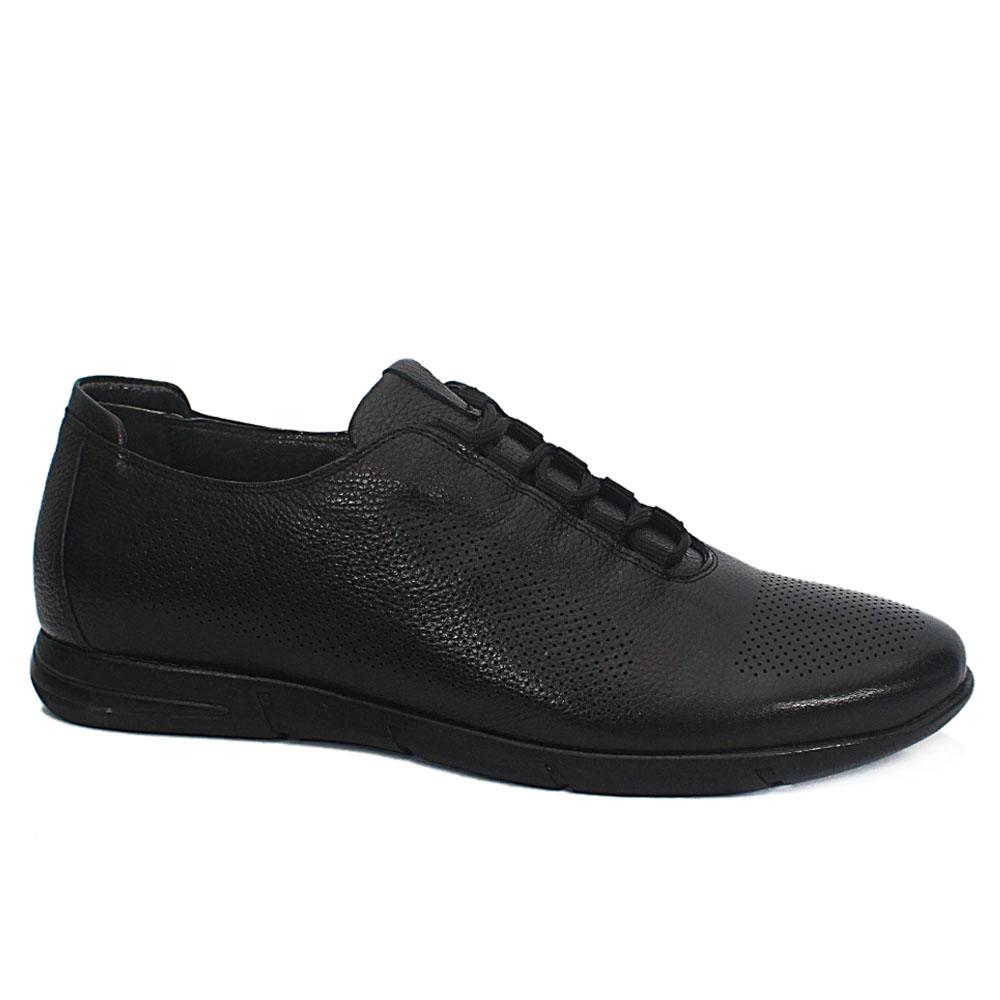Black Dotted Leather Sneakers