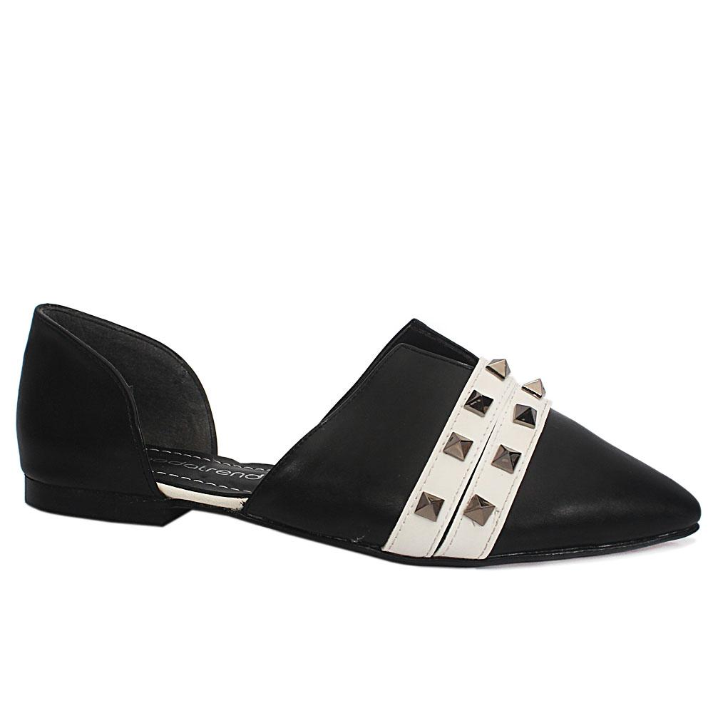Black Studded Leather Flat Shoe