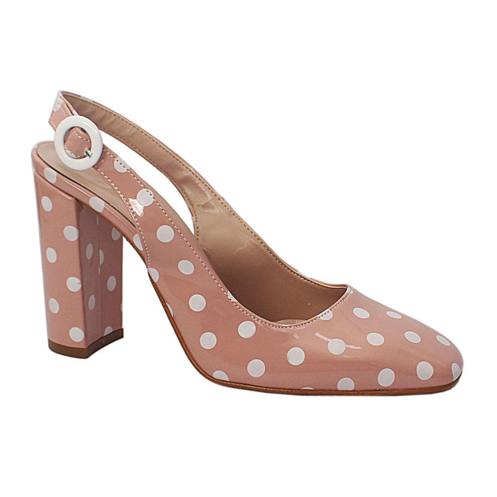 Baby Pink White Polka Dot Patent Leather Heel Half Shoes