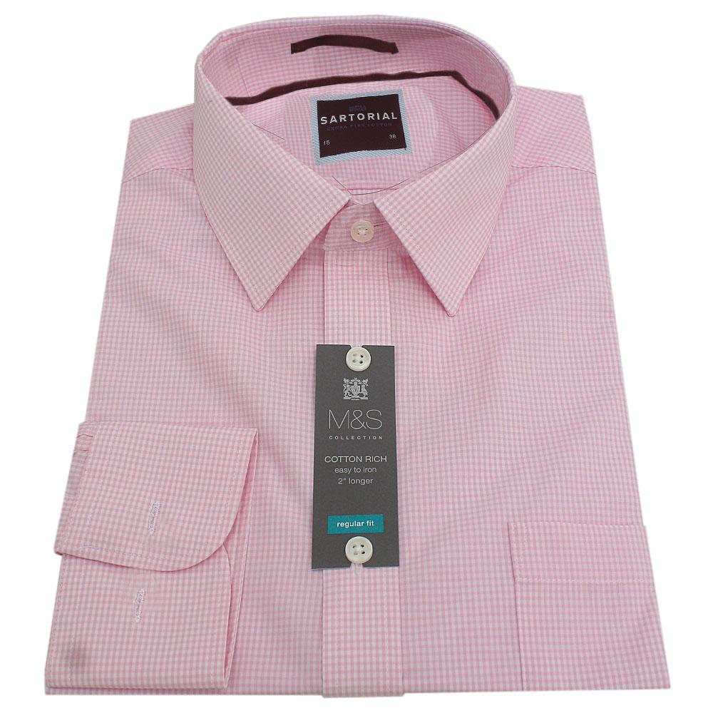 M&S Sartorial Pink White Check Cotton Men's L S Shirt Wt Cufflinks S