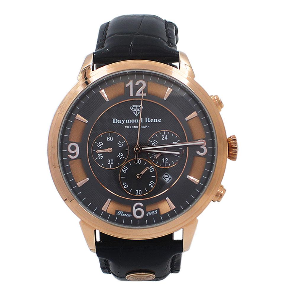 Rose Gold Black Leather Chronograph Watch