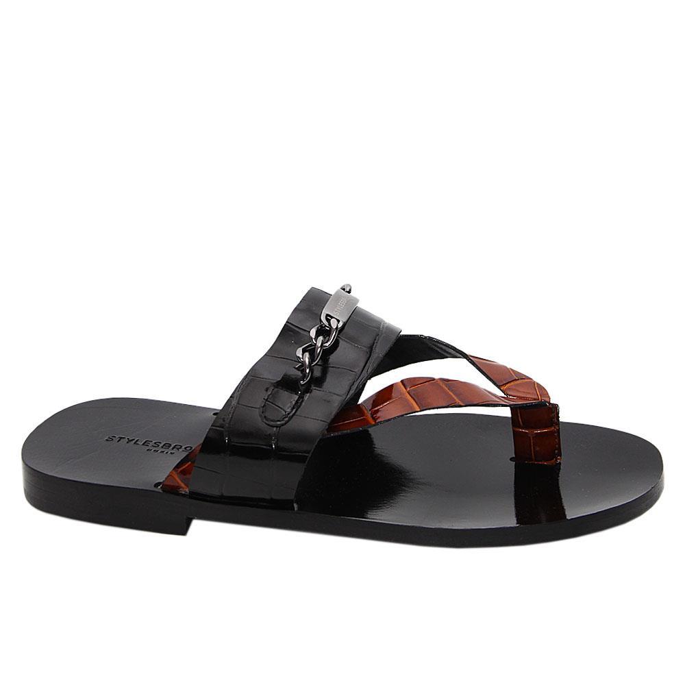 Black Brown Felipe Italian Leather Slippers