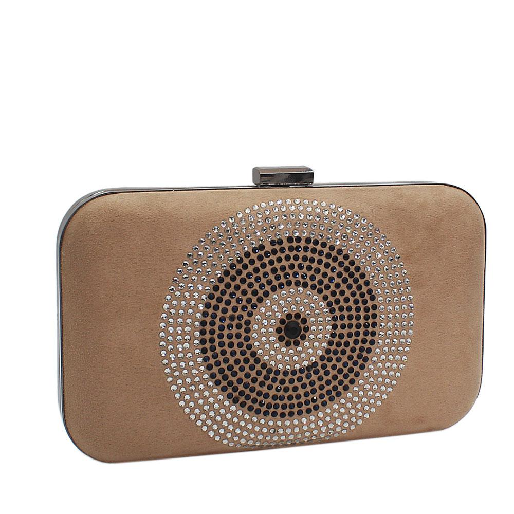 Khaki Studded Suede Leather Clutch Purse