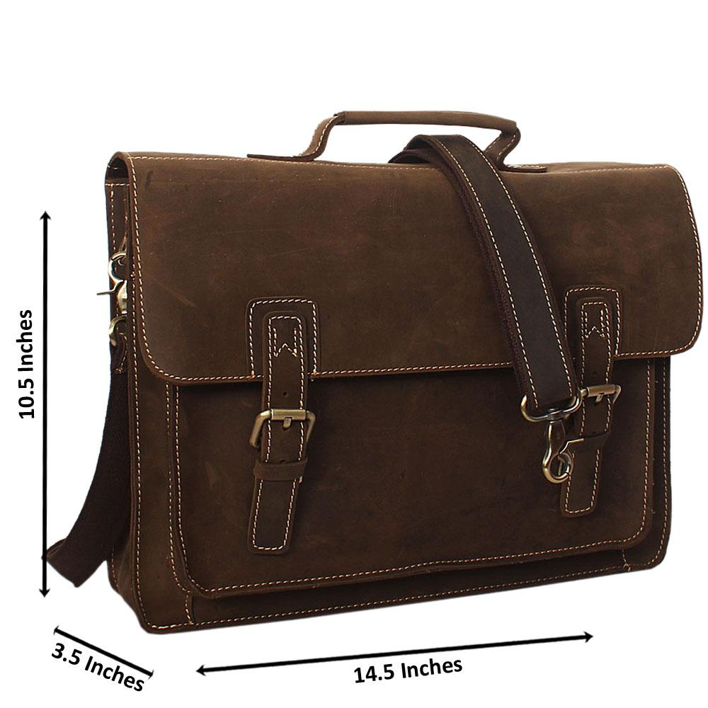 Khaki Cowhide Leather Briefcase