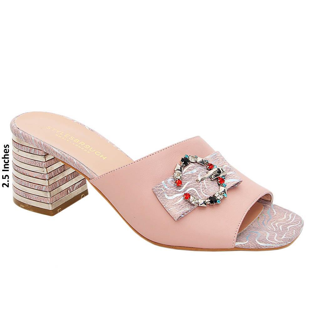 Baby Pink Miranda Tuscany Leather Mid Heel Mule