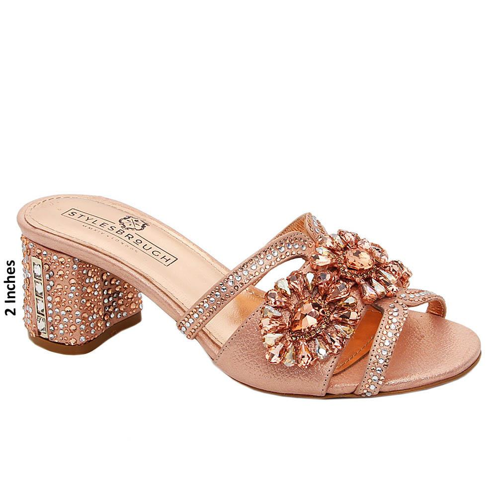 Rose Gold Kaylee  Studded Italian Leather Mid Heel Mule