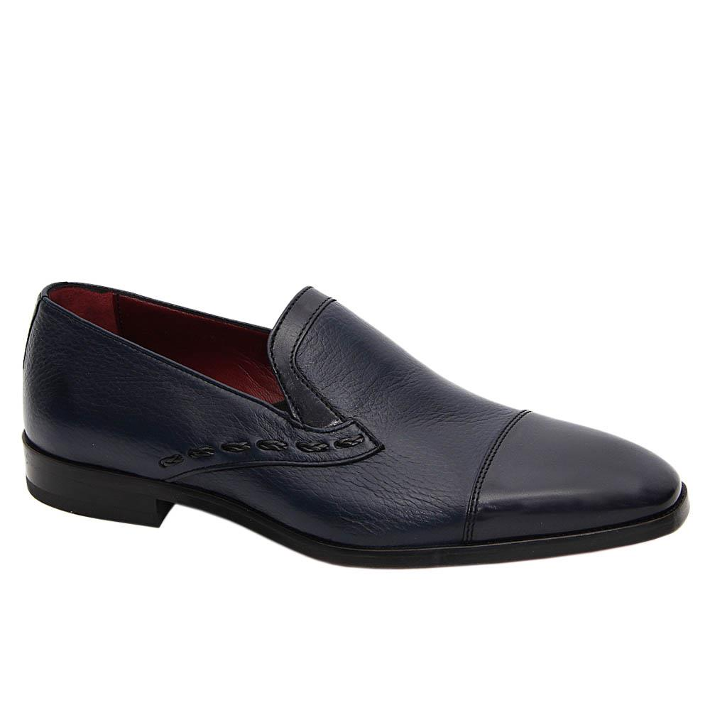 Navy Amadeo Italian Soft Leather Loafers