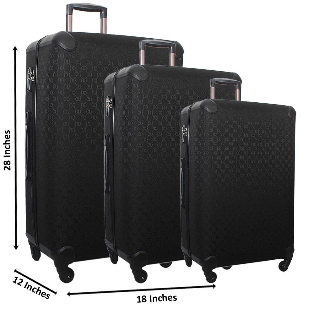 Black 28 Wt 24 and 20 Inch 3 in 1 Fabric Hard Shell Luggage Set Wt TSA Lock