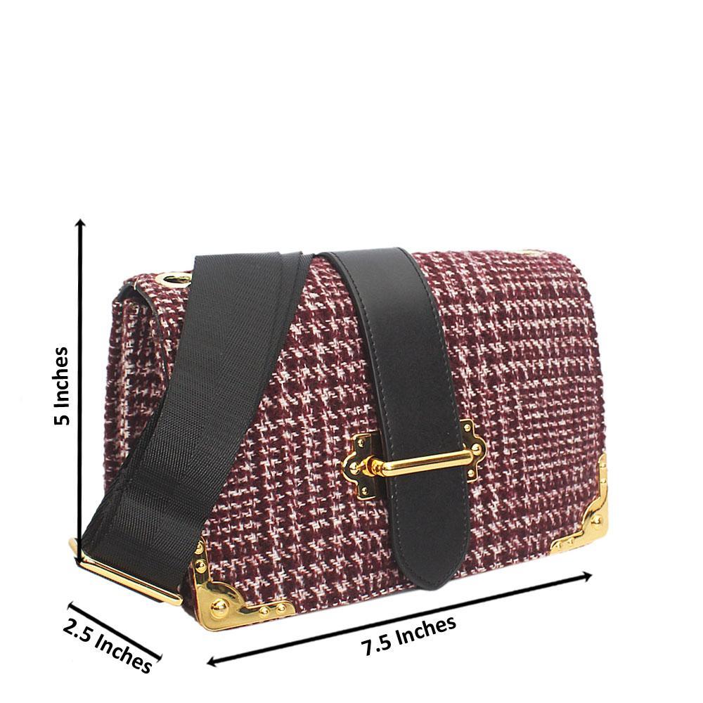 Wine Fabric Leather Mini Handbag