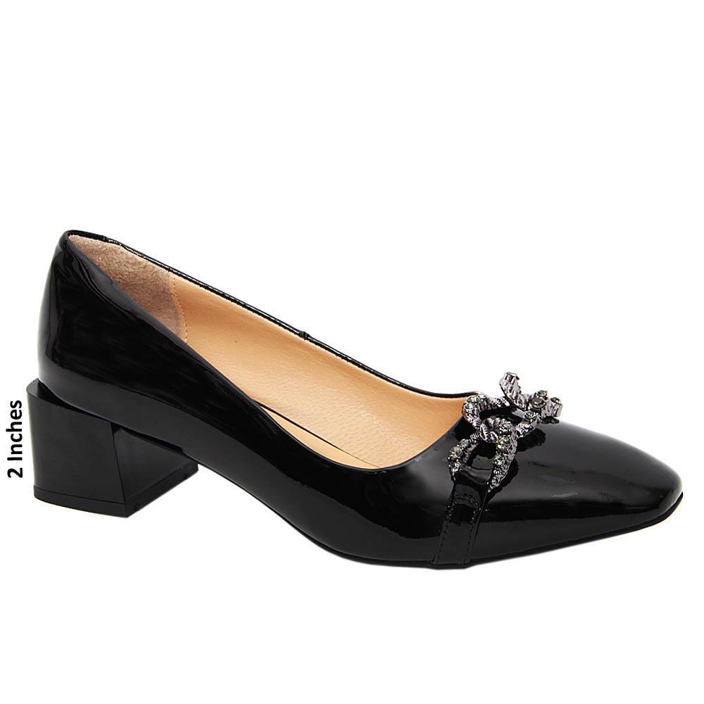 Black Ana Tuscany Patent Leather Mid Heel Pump