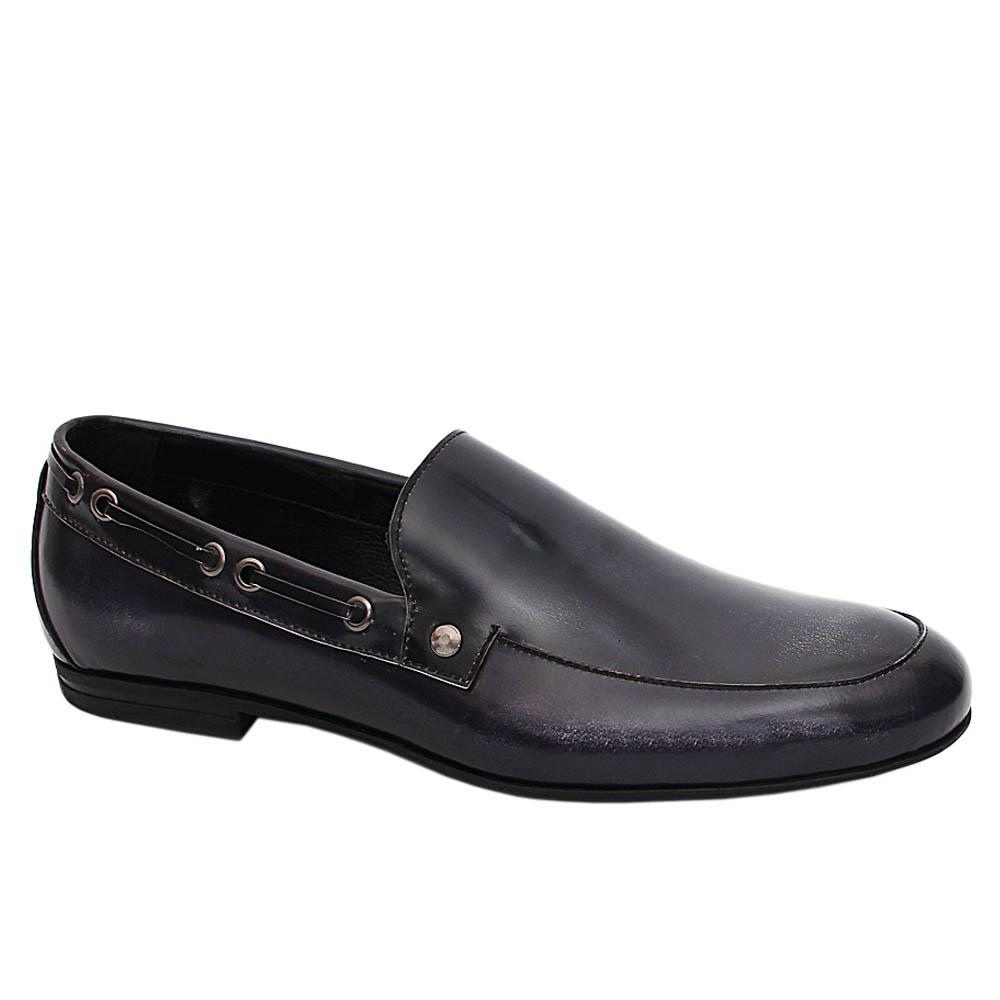 Faded Navy Diego Italian Leather Vintage Loafers