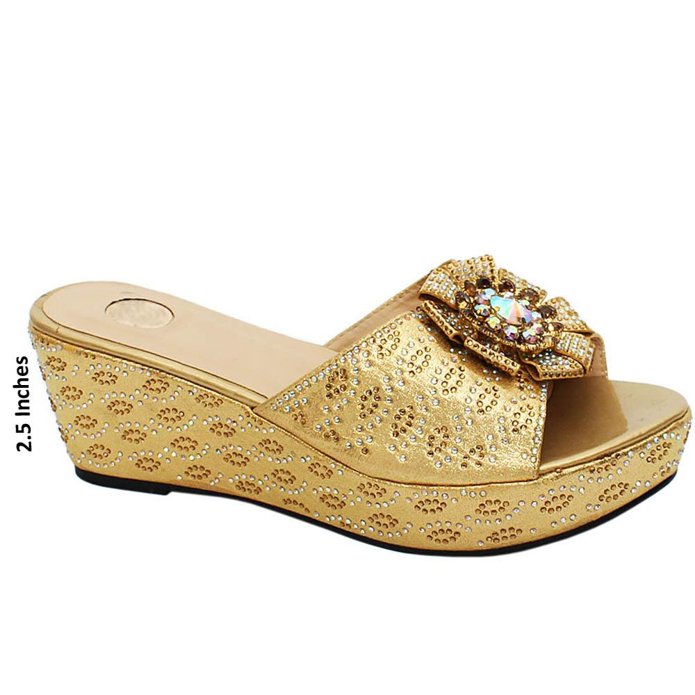 Gold katie Studded Leather Wedge Heels