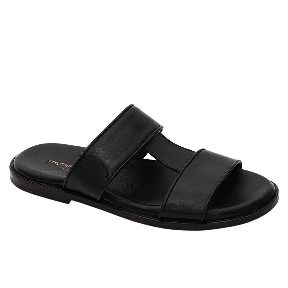 Black Marco Graham Italian Leather Slippers