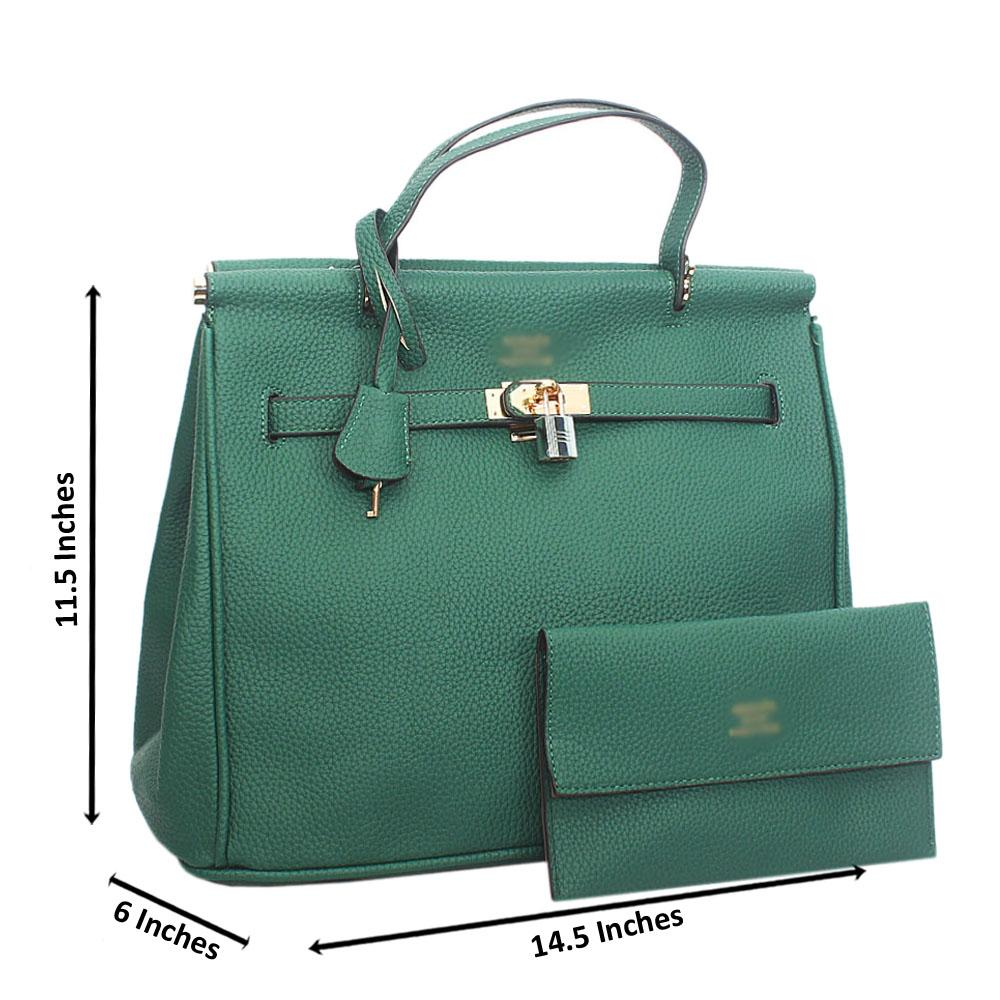 Green Leather Tote Handbag