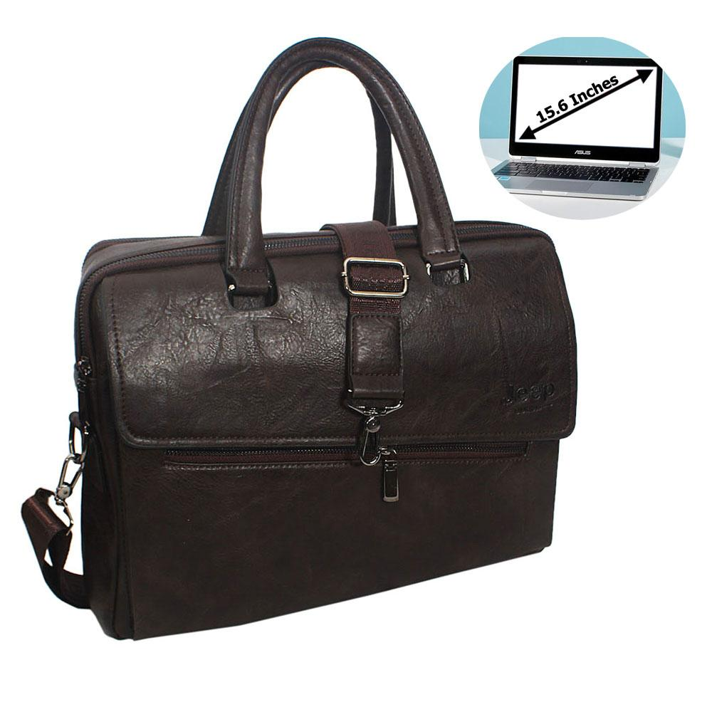 Coffee Gonzalo Leather Double Zipper Briefcase