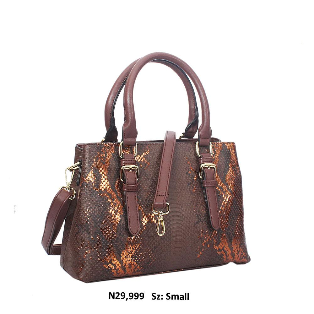 Coffee Paola Snakeskin Style Leather Tote Handbag