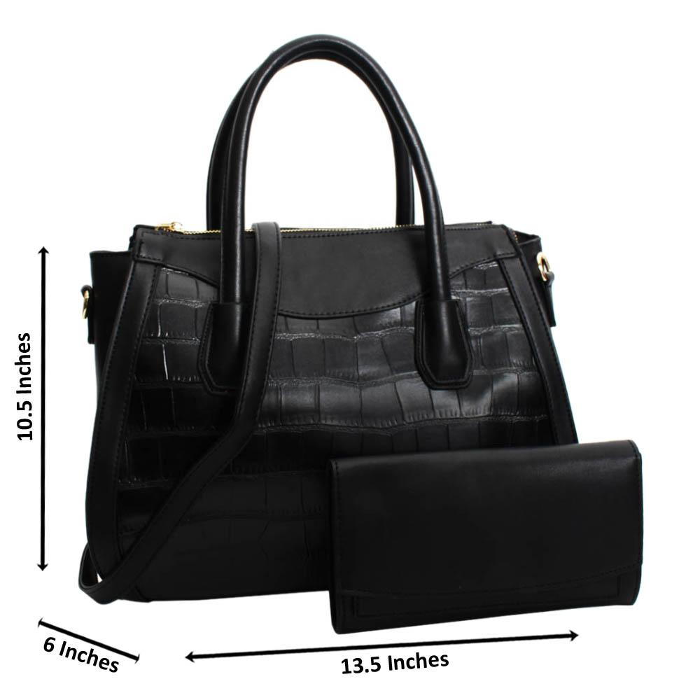 Black Royalty Mix Croc Leather Medium Tote Handbag