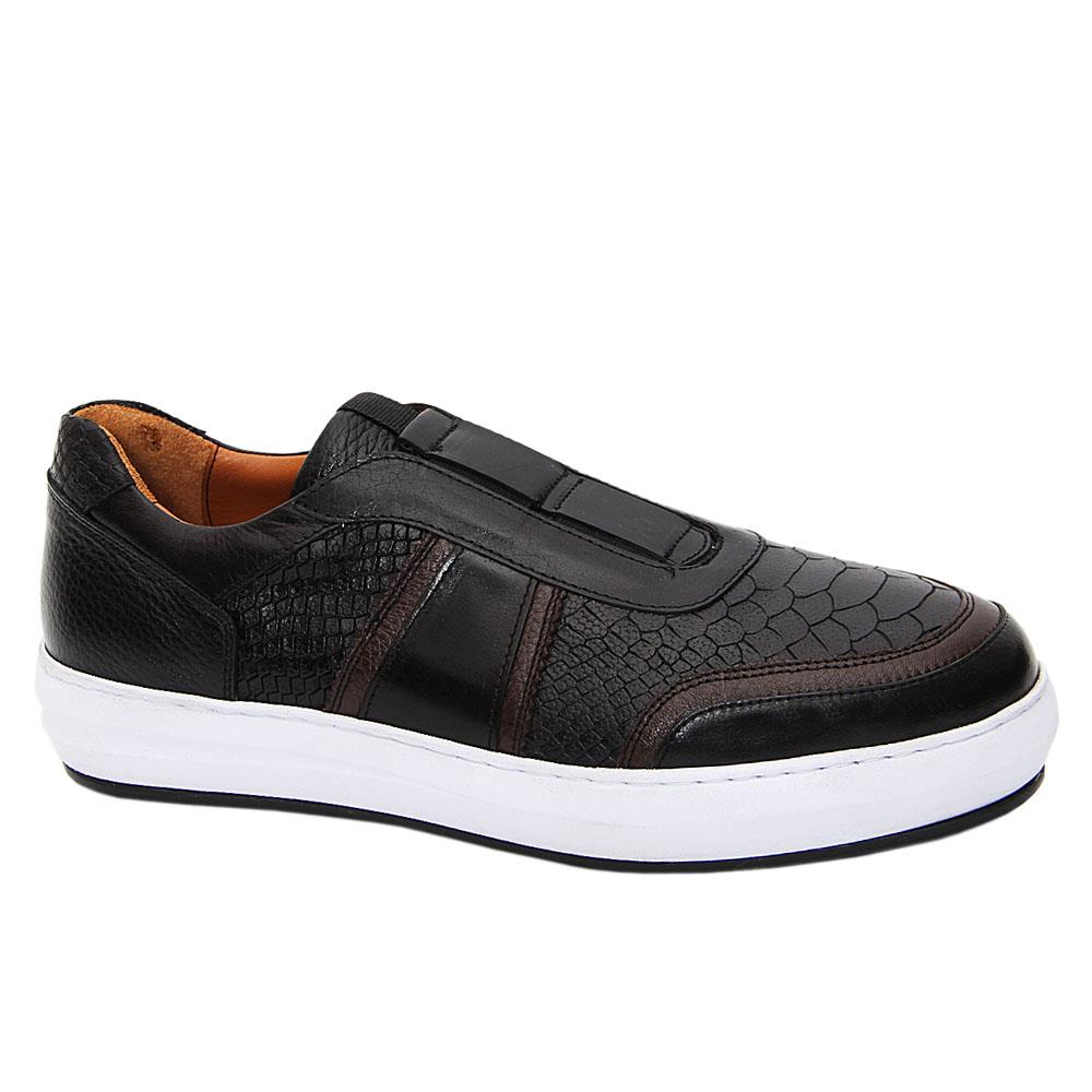 Black White Lothario Patterned Italian Leather Slip-On Sneakers