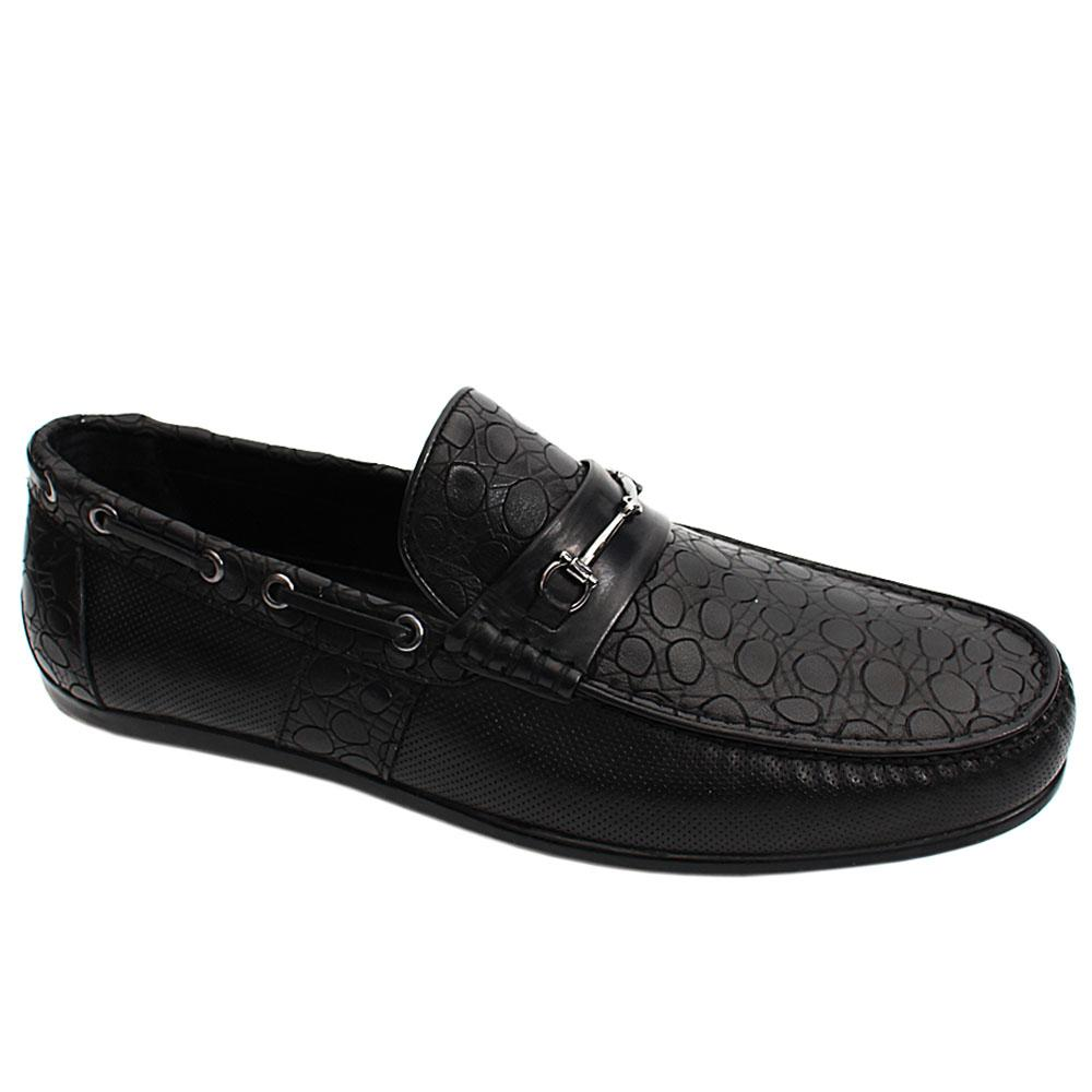 Black Siyah Mix Italian Leather Men Drivers Shoe