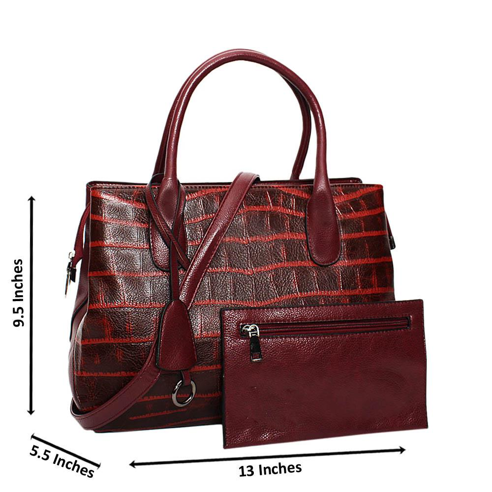 Burgundy Mix Croc Leather Medium Tote Handbag