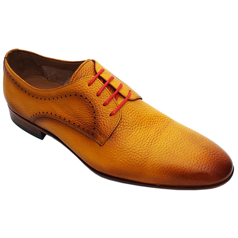 Caramel Yellow Amato Italian Leather Men Derby Shoe