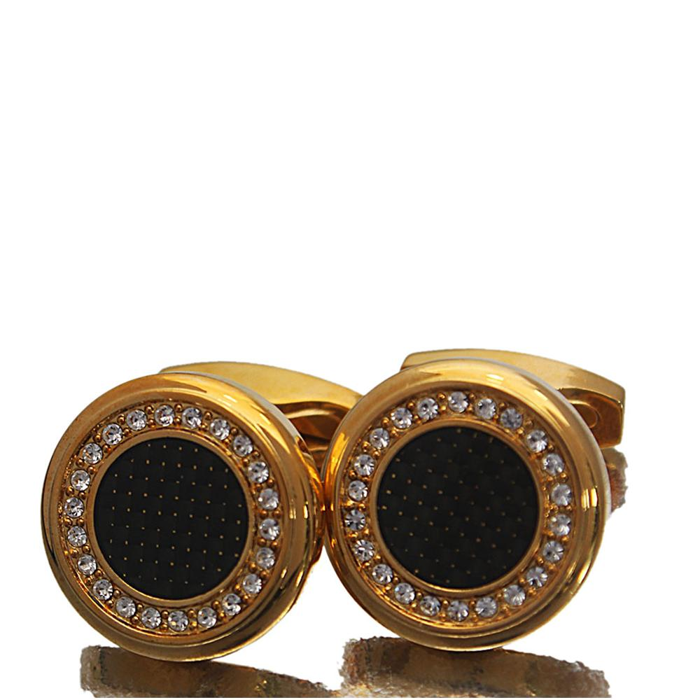 Gold Black Etched Studded Stainless Steel Cufflinks