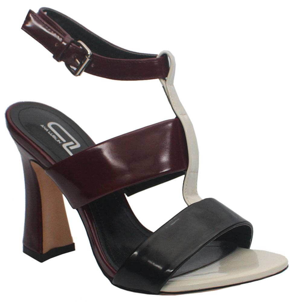 Lublin Wine Black Leather Heels
