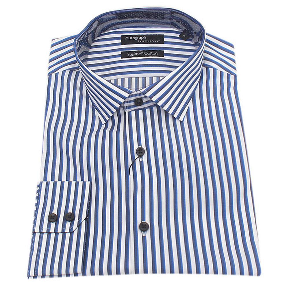 Blue White Striped Supima Fit L Sleeve Men Shirt Sz 15