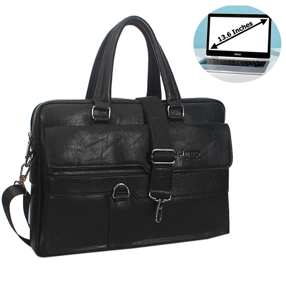 Black Cassania Leather Briefcase