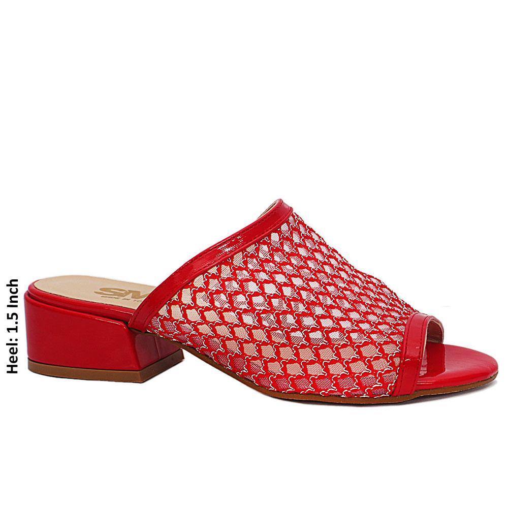 Red Open Toe Mesh Low Heel Leather Mule