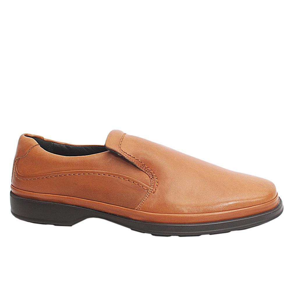 M & S Air Flex Brown Leather Men Loafers Sz 44.5