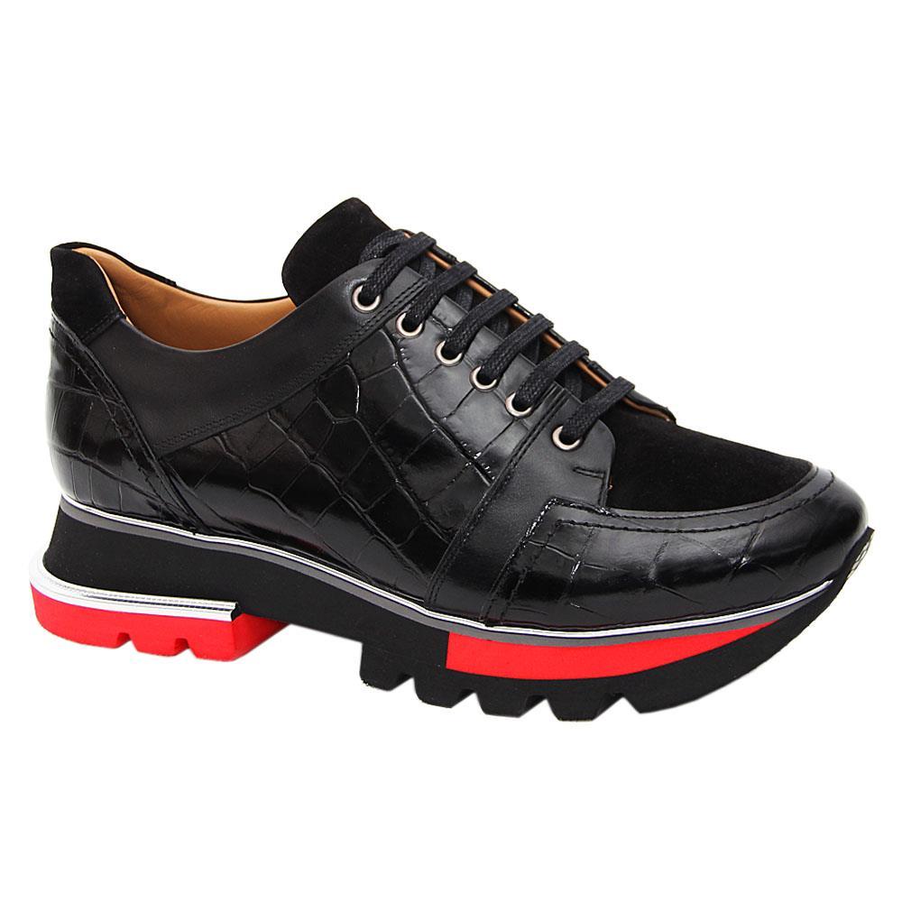 Black Giorgio Croco Suede Italian Leather Sneakers