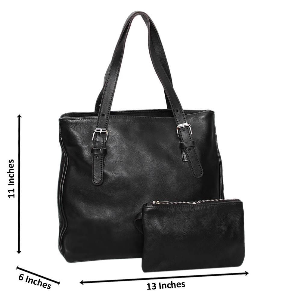 Black Casiana Cowhide Leather Tote Handbag