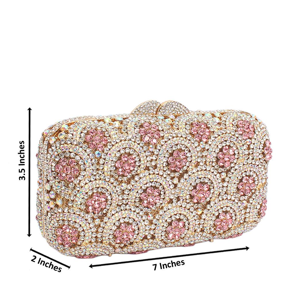 Gold Pink Diamante Crystal Clutch Purse
