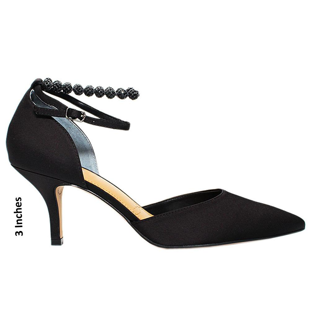 Black Kimama Satin Leather Heel
